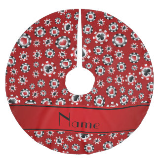 Personalized name red poker chips brushed polyester tree skirt