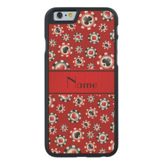 Personalized name red poker chips carved® maple iPhone 6 slim case