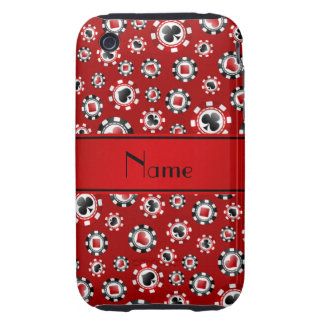 Personalized name red poker chips iPhone 3 tough cases