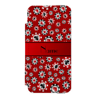 Personalized name red poker chips incipio watson™ iPhone 5 wallet case