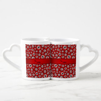Personalized name red poker chips lovers mug sets