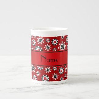 Personalized name red poker chips porcelain mug