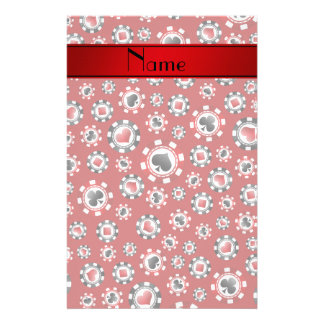 Personalized name red poker chips custom stationery