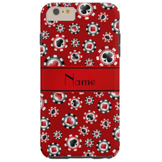 Personalized name red poker chips tough iPhone 6 plus case