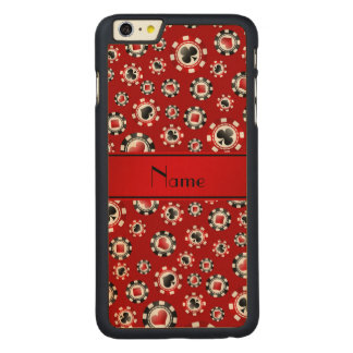 Personalized name red poker chips iPhone 6 plus case