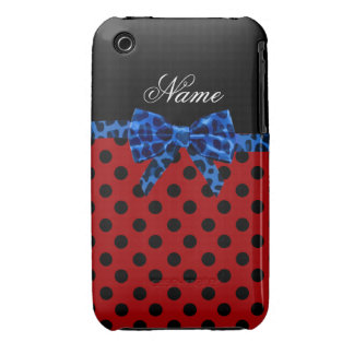 Personalized name red polka dots blue leopard bow iPhone 3 Case-Mate cases