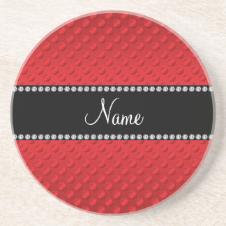 Personalized name red polka dots drink coaster