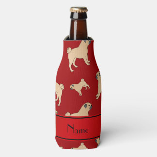 Personalized name red Pug dogs Bottle Cooler