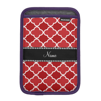 Personalized name Red quatrefoil pattern iPad Mini Sleeve