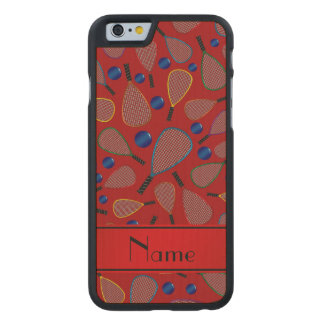 Personalized name red racquetball pattern carved® maple iPhone 6 slim case