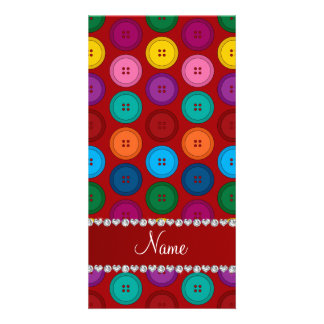 Personalized name red rainbow buttons pattern photo card