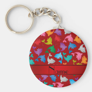 Personalized name red rainbow dolphins basic round button key ring