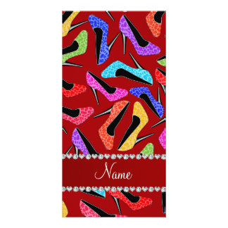 Personalized name red rainbow leopard high heels customized photo card