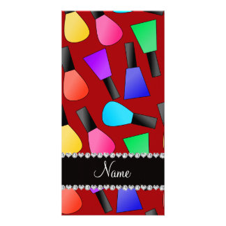 Personalized name red rainbow nail polish photo card