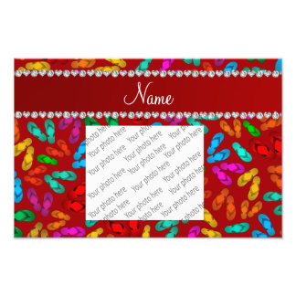 Personalized name red rainbow sandals photo print