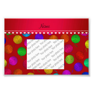 Personalized name red rainbow yarn balls photograph