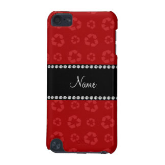 Personalized name red recycling pattern iPod touch (5th generation) cases