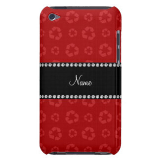 Personalized name red recycling pattern iPod touch covers