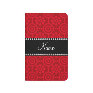 Personalized name red retro flowers journals