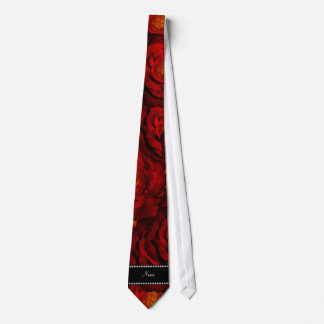 Personalized name red roses necktie