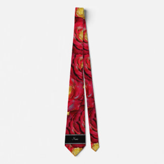 Personalized name red roses tie