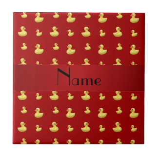 Personalized name red rubber duck pattern small square tile