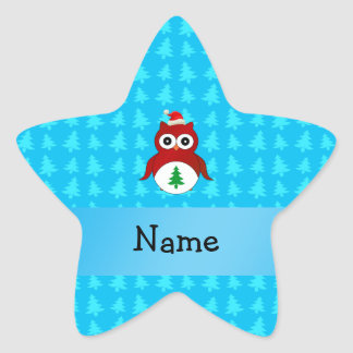 Personalized name red santa owl blue trees stickers