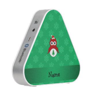 Personalized name red santa owl green snowflakes