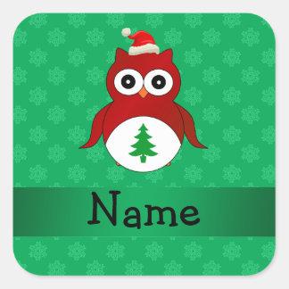 Personalized name red santa owl green snowflakes square sticker