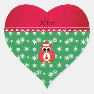 Personalized name red santa owl green snowflakes sticker