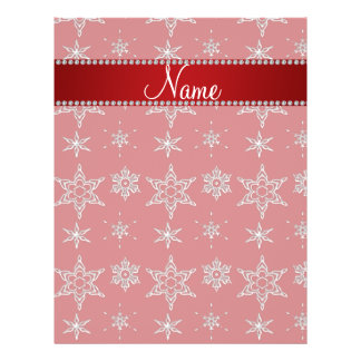 Personalized name red silver snowflakes red stripe full color flyer