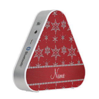 Personalized name red silver snowflakes red stripe bluetooth speaker