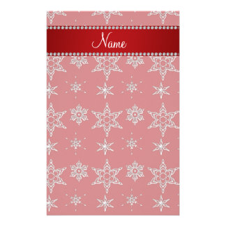 Personalized name red silver snowflakes red stripe stationery paper