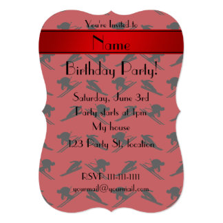 Personalized name red ski pattern custom announcement