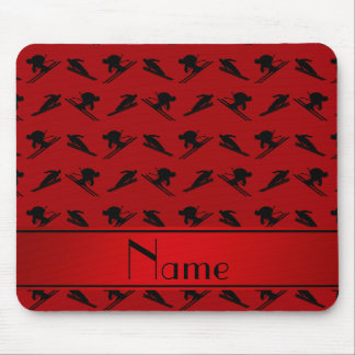 Personalized name red ski pattern mouse pad
