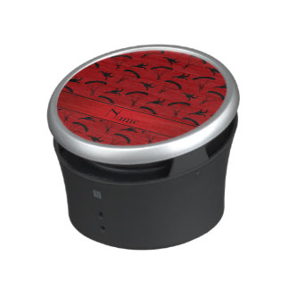 Personalized name red skydiving pattern bluetooth speaker