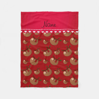 Personalized name red sloth pattern fleece blanket