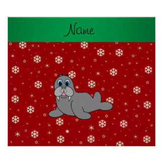 Personalized name red snowflake walrus poster