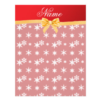Personalized name red snowflakes gold bow personalized flyer