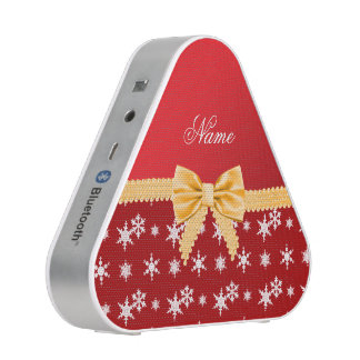 Personalized name red snowflakes gold bow bluetooth speaker