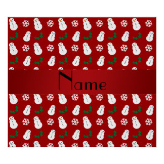 Personalized name red snowman christmas posters