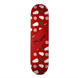 Personalized name red snowman christmas skateboards