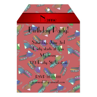 Personalized name red snowmobiles 5x7 paper invitation card