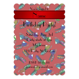 """Personalized name red snowmobiles 5"""" x 7"""" invitation card"""