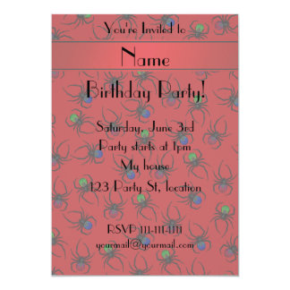 Personalized name red spiders 13 cm x 18 cm invitation card