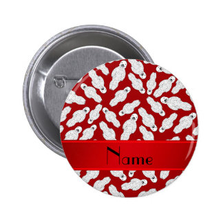 Personalized name red spotted seal 6 cm round badge