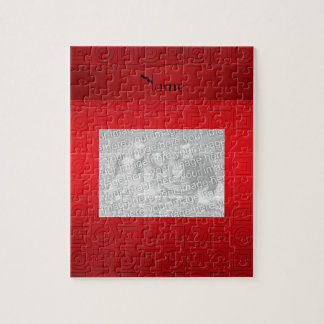 Personalized name red squares circles jigsaw puzzle