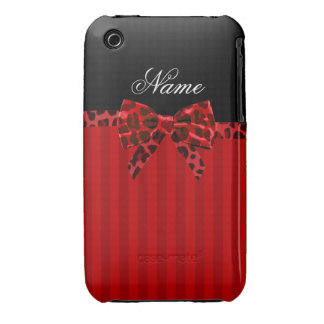 Personalized name red stripes red leopard bow iPhone 3 cases