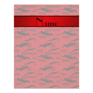 Personalized name red swimming pattern 21.5 cm x 28 cm flyer