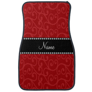 Personalized name red swirls floor mat